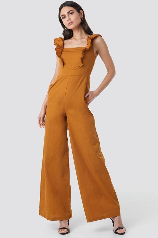 Ruffle Detail Jumpsuit Orange Outfit