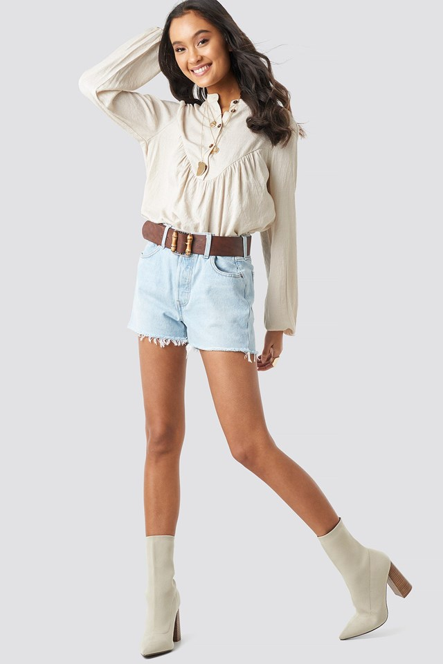 Buttoned Gathered Blouse Outfit