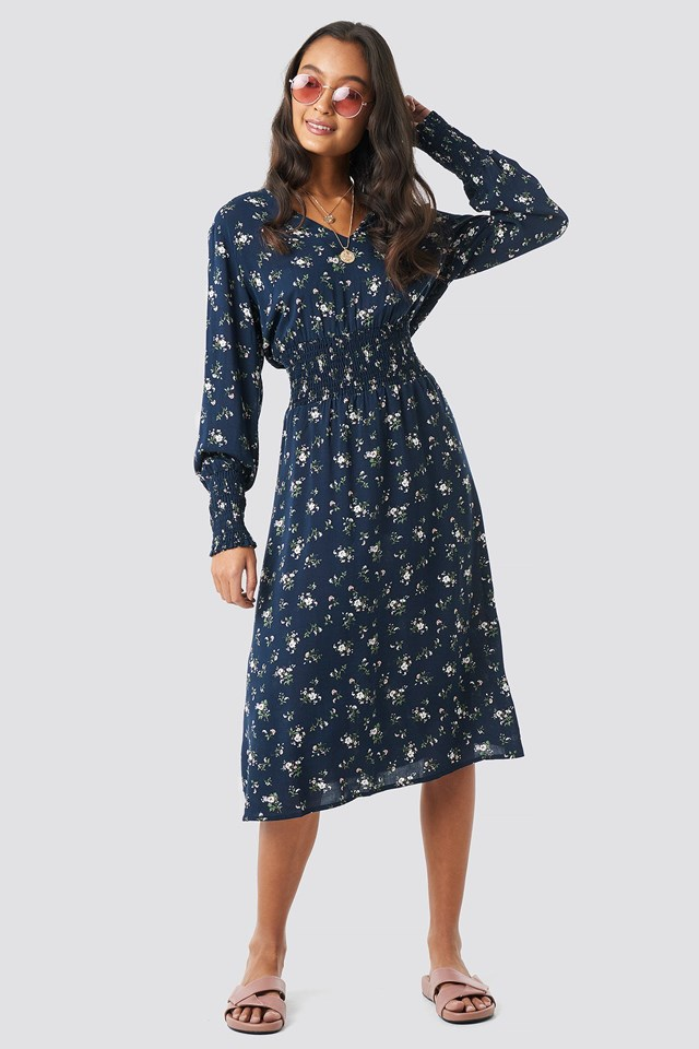 SHirred Flower Printed Dress Outfit