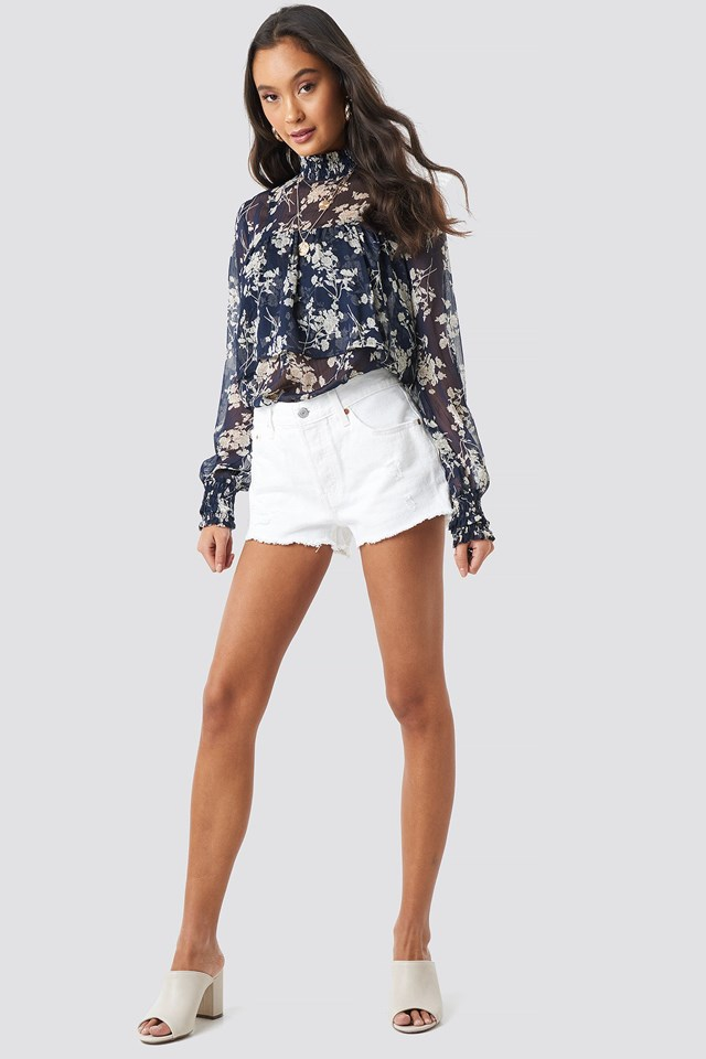 Smock Neck Layered Chiffon Top Outfit