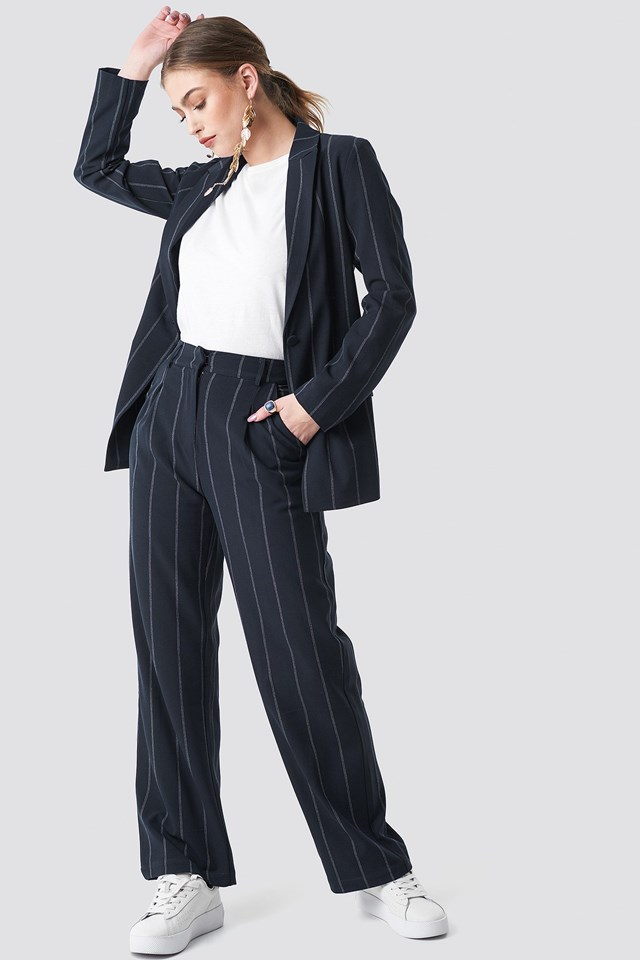 Pinstriped Blazer Outfit