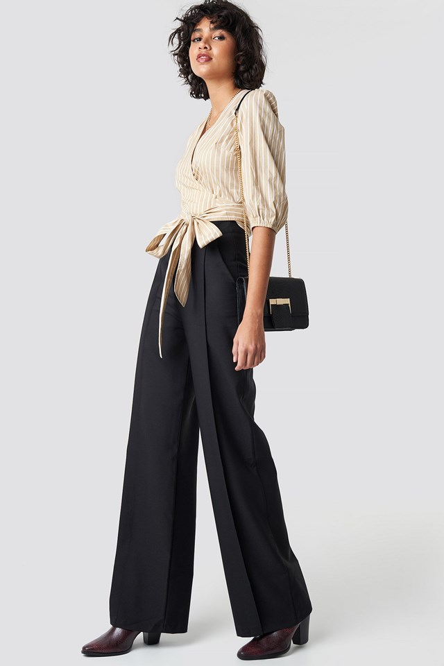 Puff Sleeve Wrap Crop Top Outfit