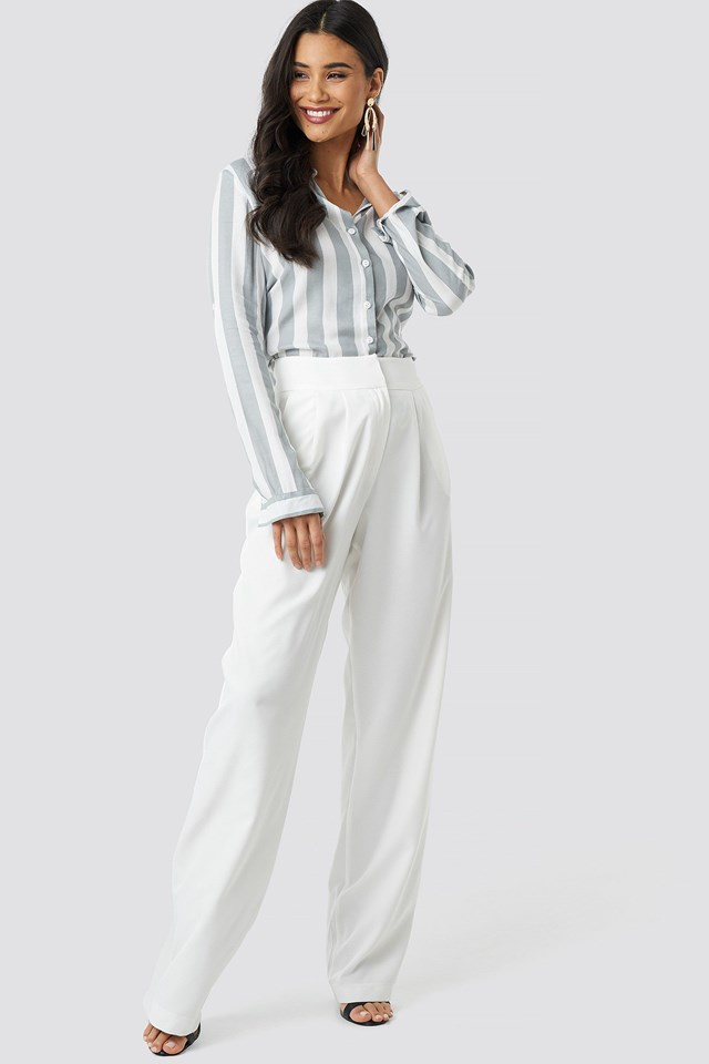 Grey Striped Shirt Outfit