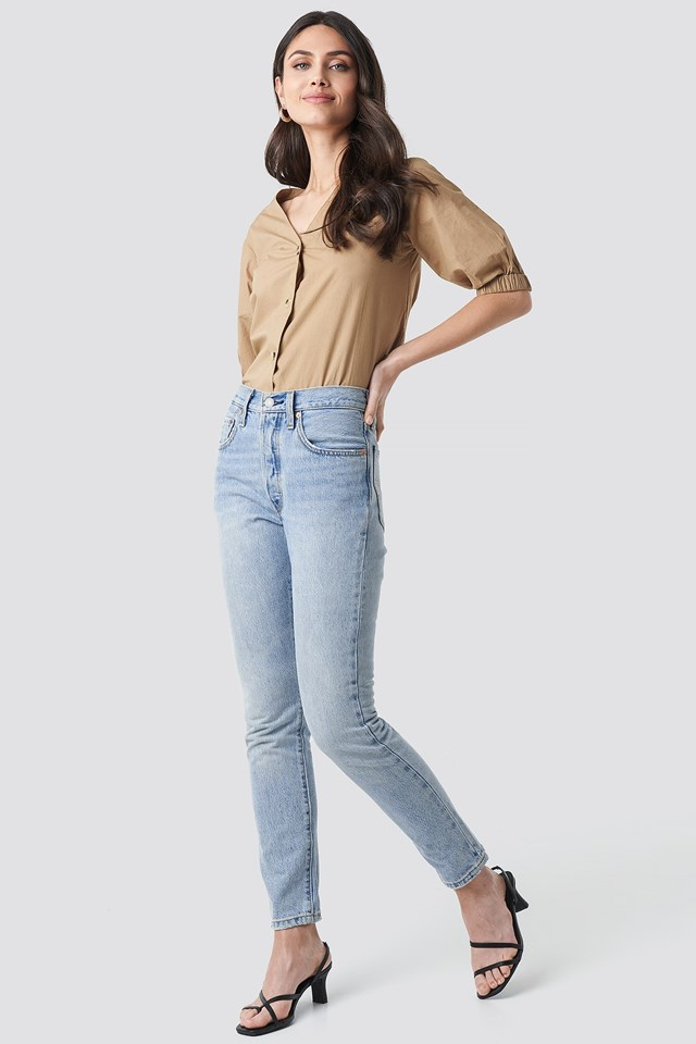 Button Short Sleeve Blouse Outfit