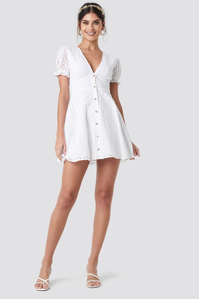 V-Neck Anglaise Mini Dress Outfit
