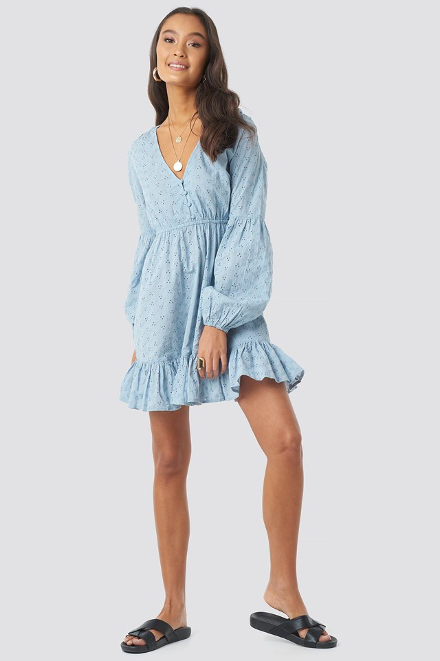 Anglaise Balloon Sleeve Dress Blue Outfit