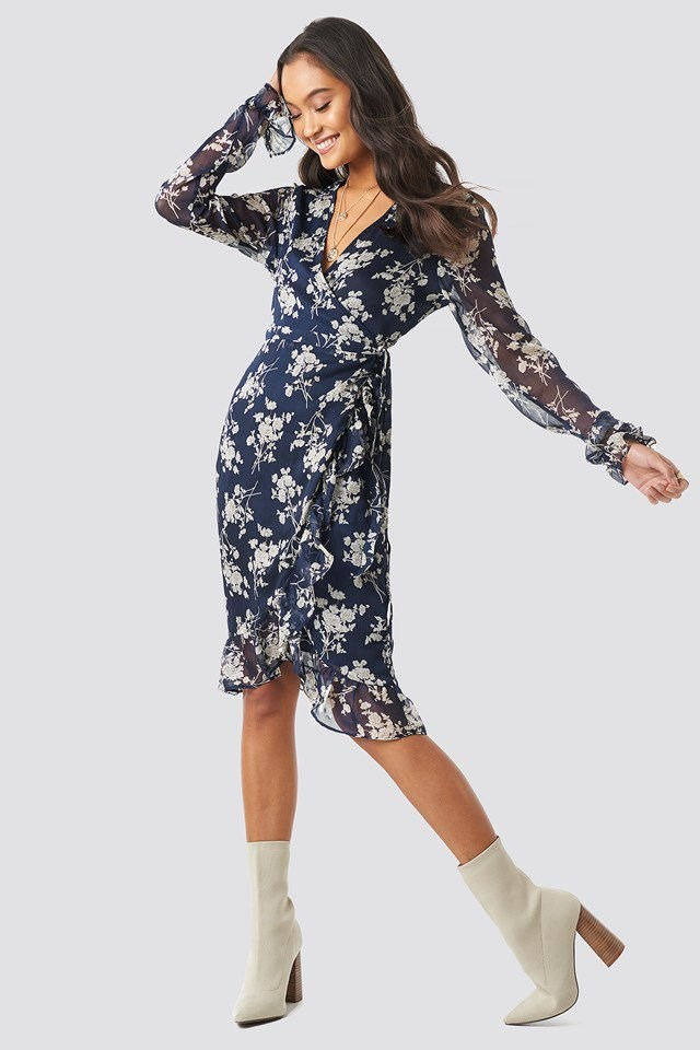 Wrap Over Self-Tie Dress Multicolor Outfit
