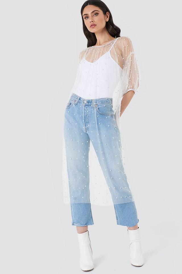 Long Mesh Dress Over Jeans