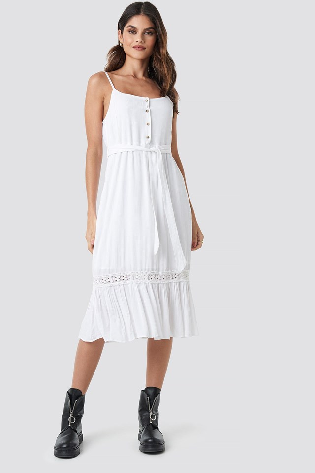 Crochet Detail Midi Dress White Outfit