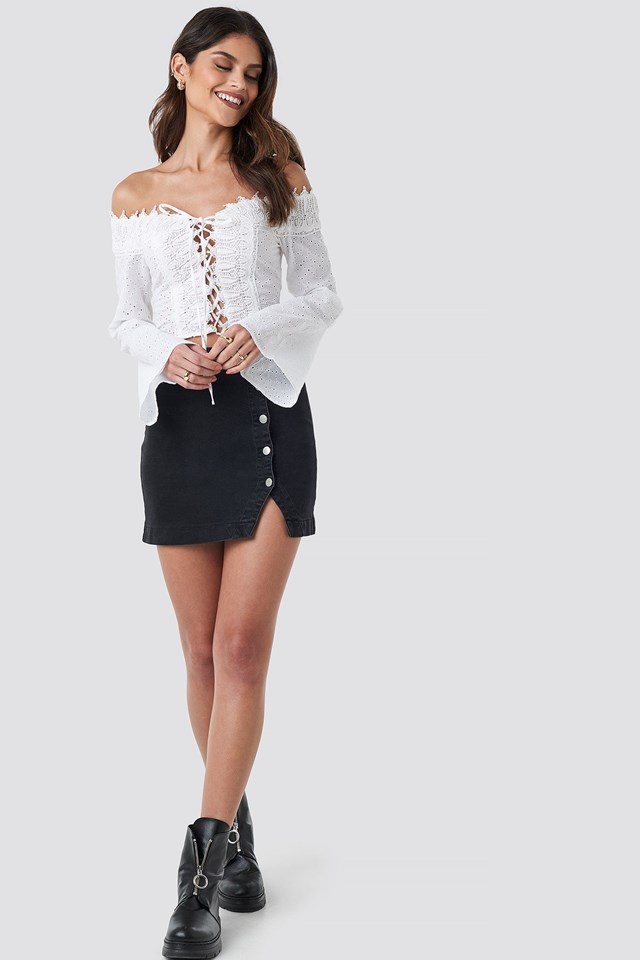 Front Tied Crochet Blouse White Outfit
