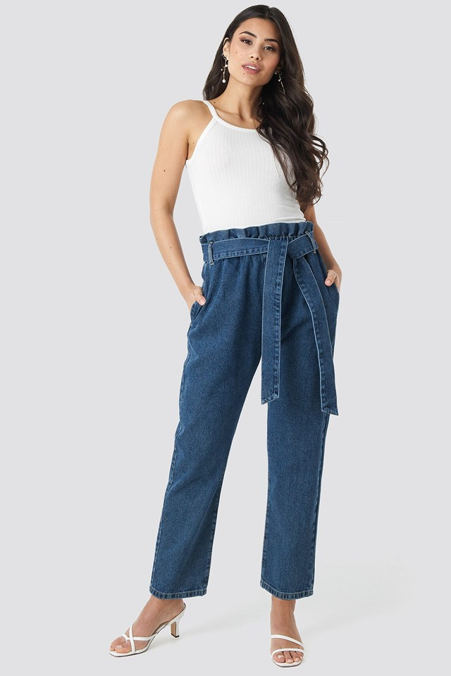 Paper Bag Waist Mom Jeans