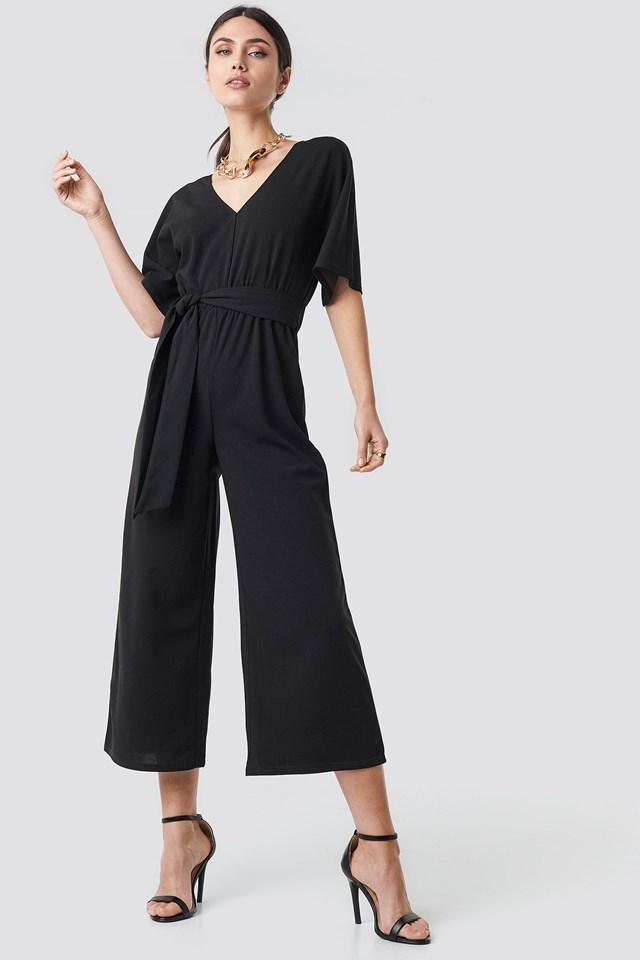 V-neck Wide Leg Jumpsuit Outfit