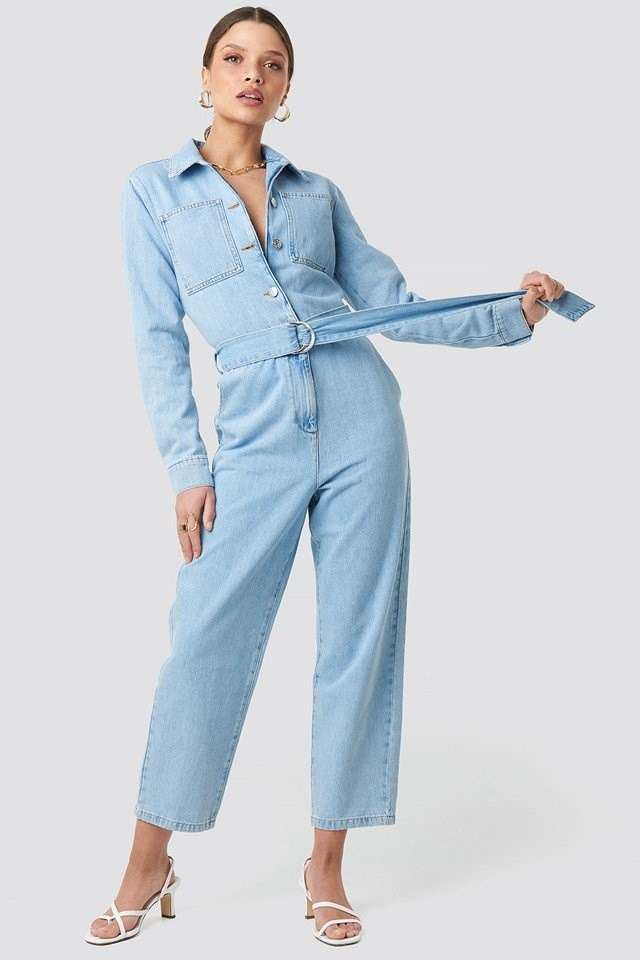 Waist Belt Denim Jumpsuit