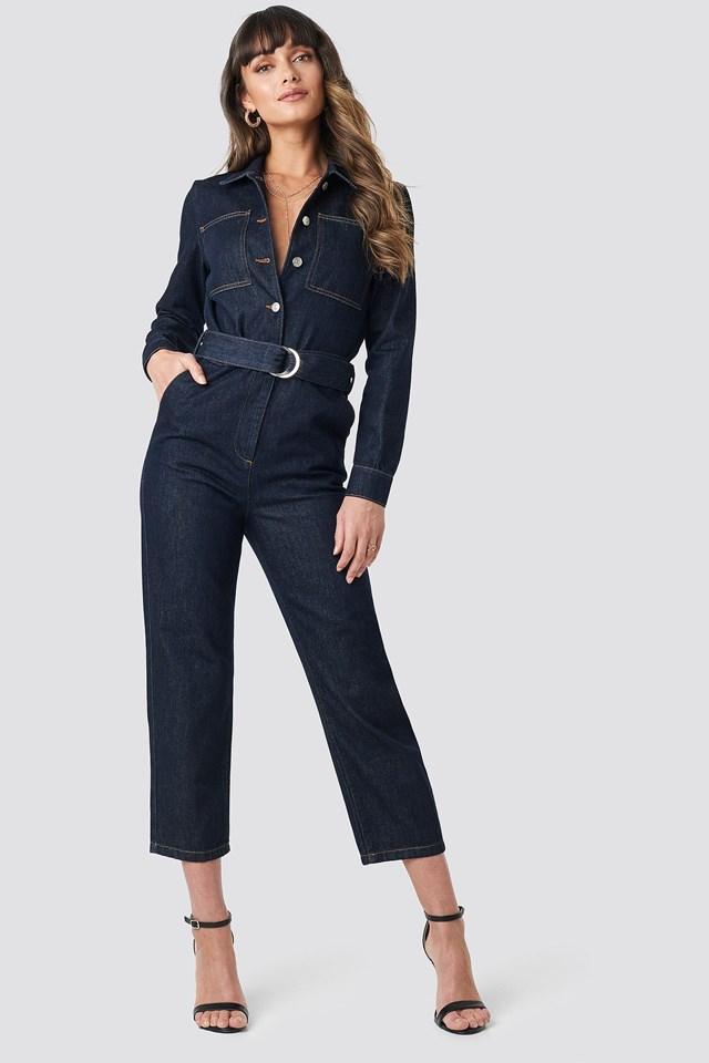 Waist Belt Denim Jumpsuit Outfit