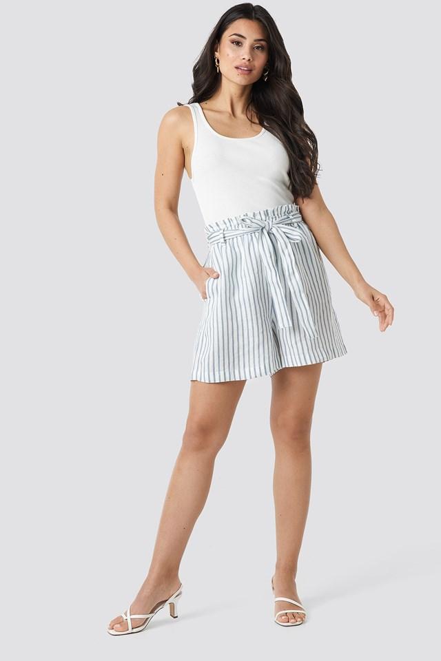 Linen Paper Bag Shorts Outfit