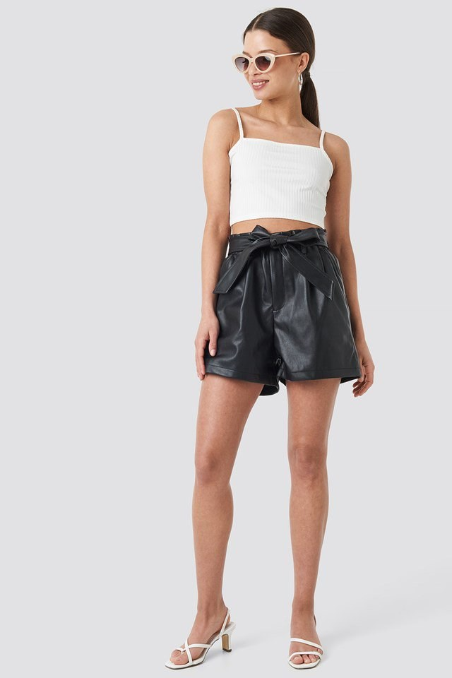 PU Paper Bag Waist Belted Shorts Outfit.