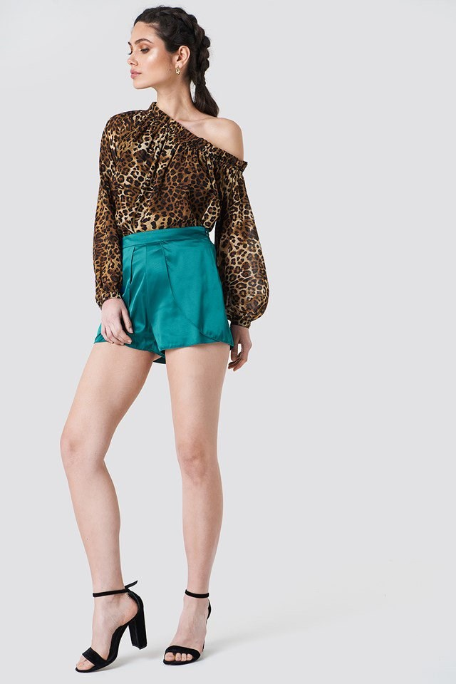 Satin Shorts with Off Shoulder Blouse