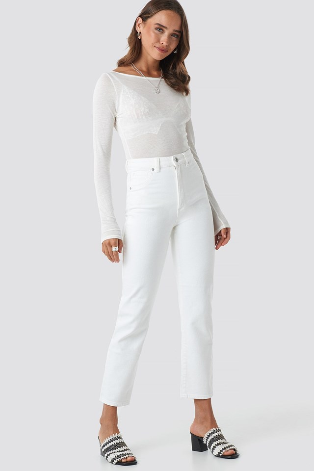 A 94 High Slim Jeans White Outfit