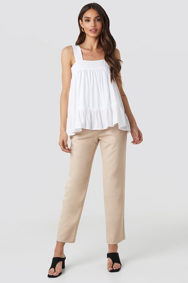 White Strap Ruffle Top Outfit.