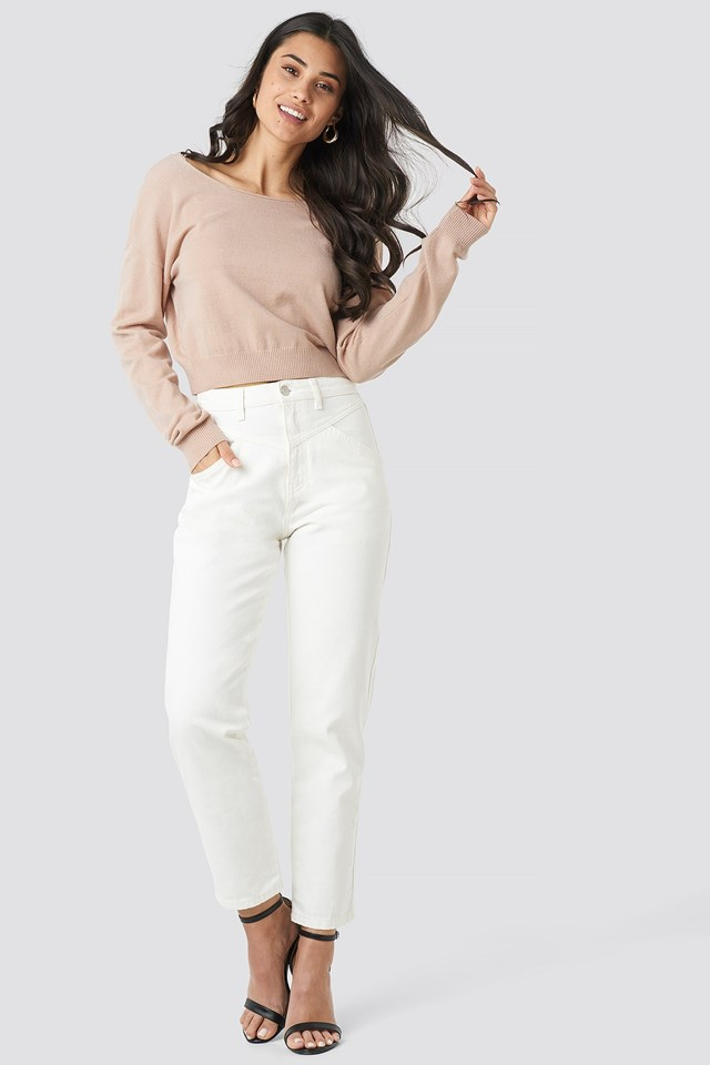 Back V-neck Cropped Sweater Pink Outfit