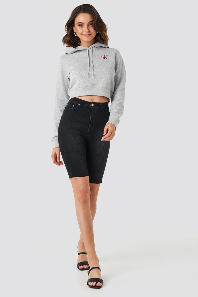 Monogram Embroidery Hoodie Grey Outfit