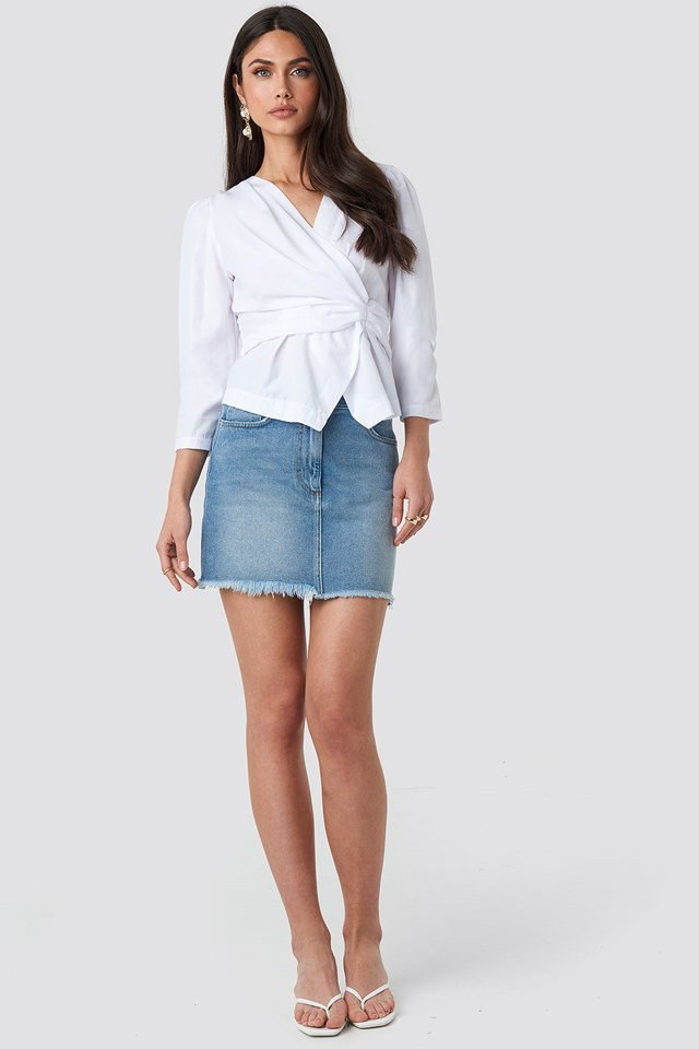Waist Detail Blouse White Outfit