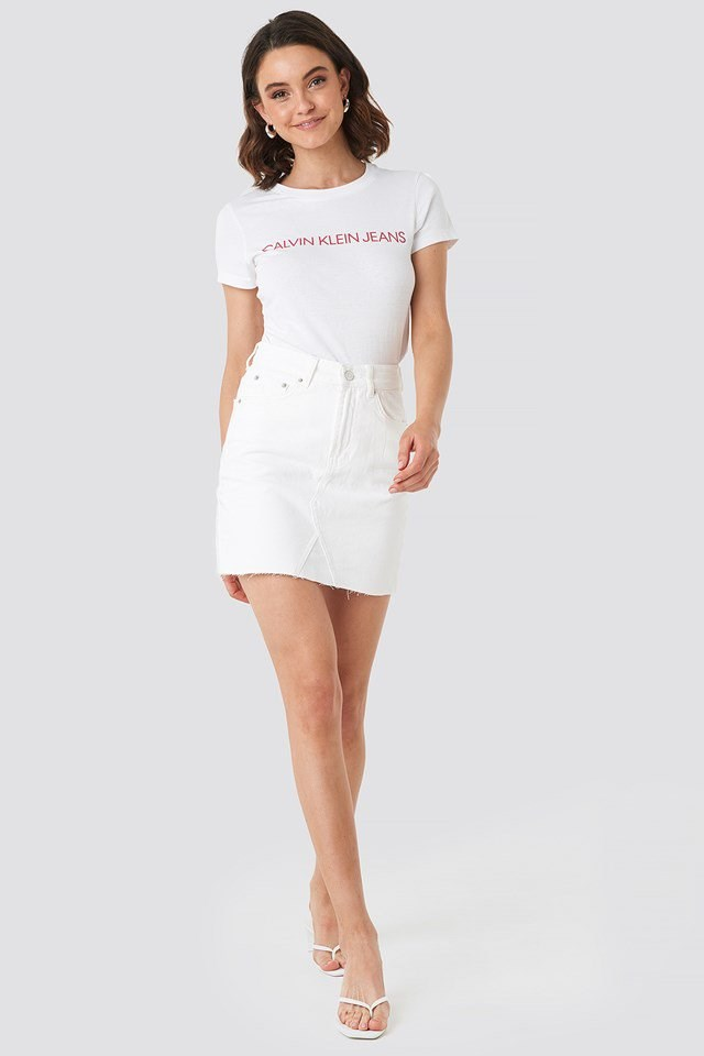 Institutional Logo Slim Fit Tee White Outfit