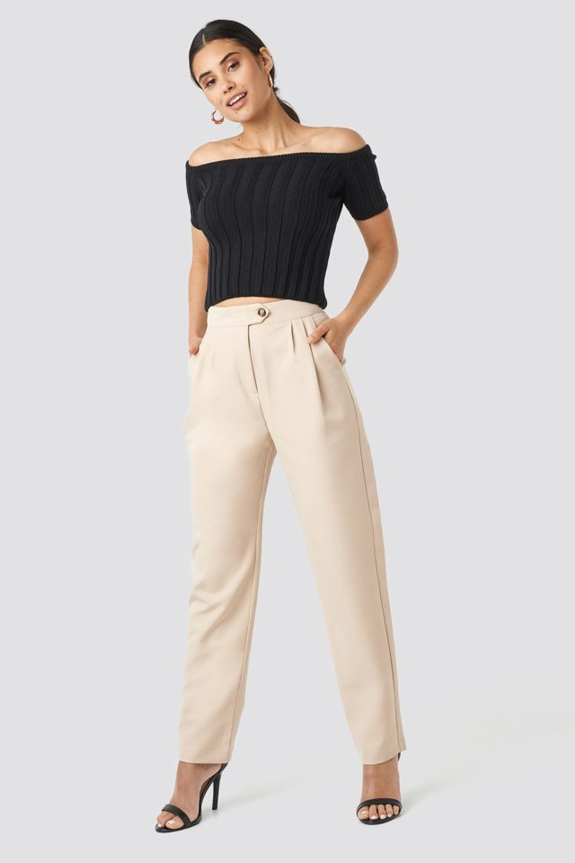 Off Shoulder Ribbed Knitted Top Black Outfit