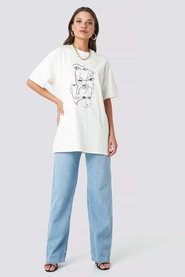 Printed Face Oversize Tee White Outfit