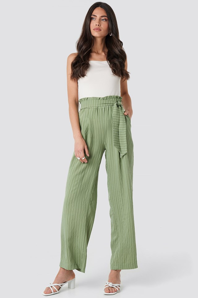 Wos Binding Detailed Trousers Green Outfit