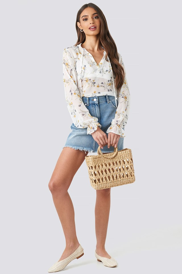 Flower Print Keyhole Blouse White Outfit