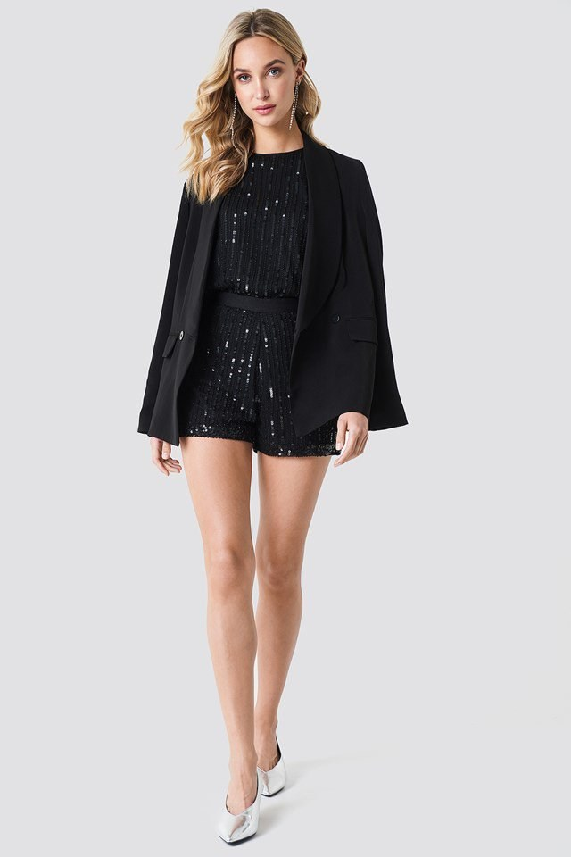 Black Sequins Shorts with Tailored Blazer