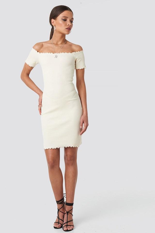 Off Shoulder Ribbed Dress Beige Outfit