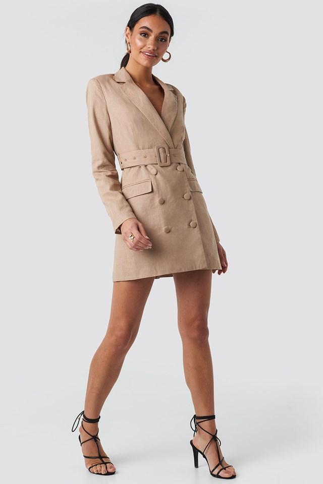 Linen Blazer Dress Beige Outfit