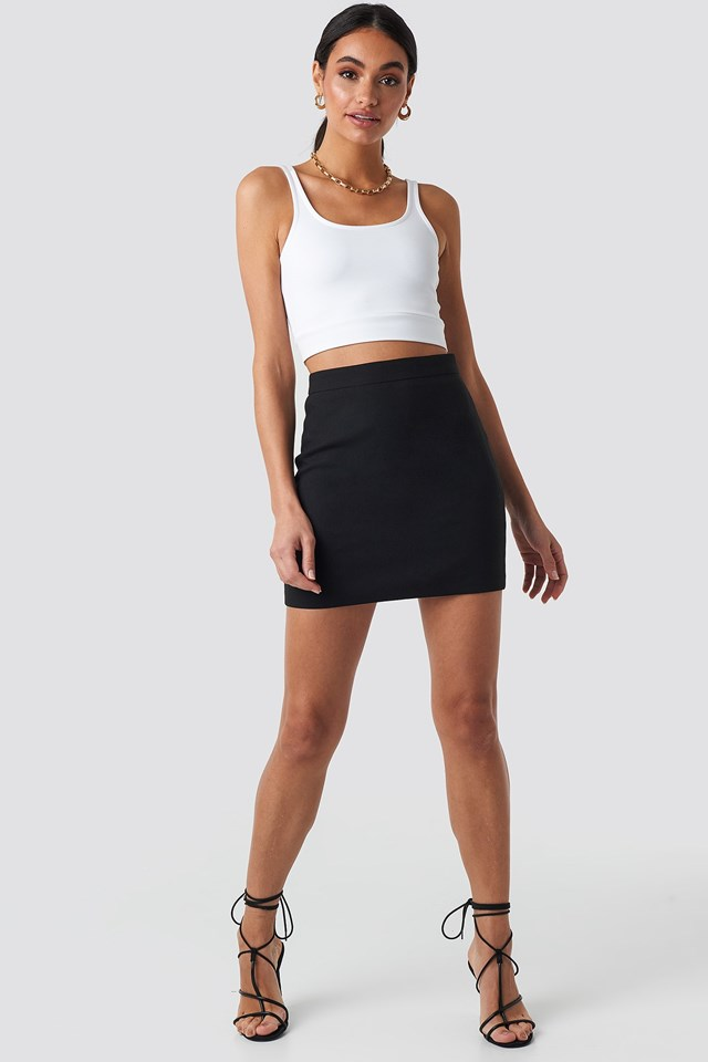 Tailored Mini Skirt Black Outfit