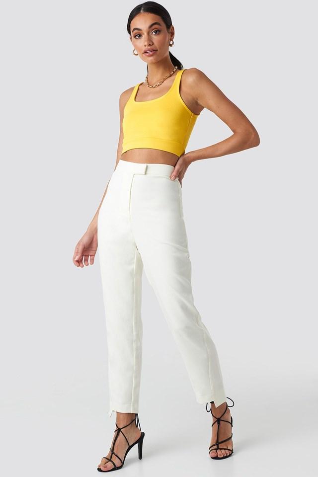 Asymmetrical Hem Suit Pants White Outfit