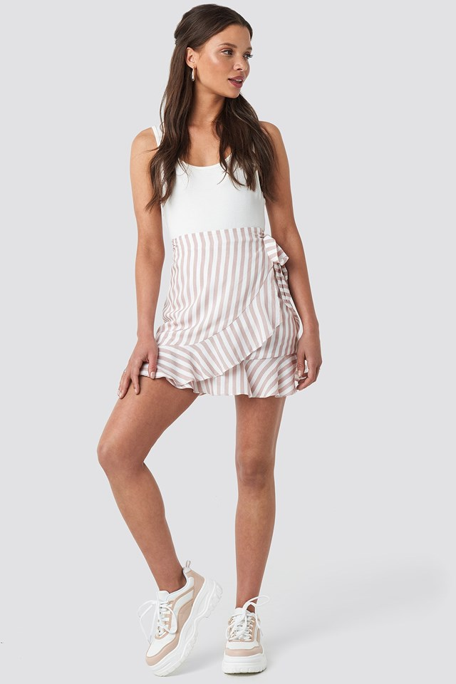 Stripe Wrap Skirt Nude Outfit