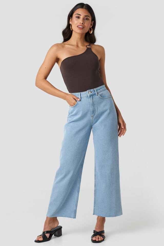One Shoulder Ring Body Brown Outfit