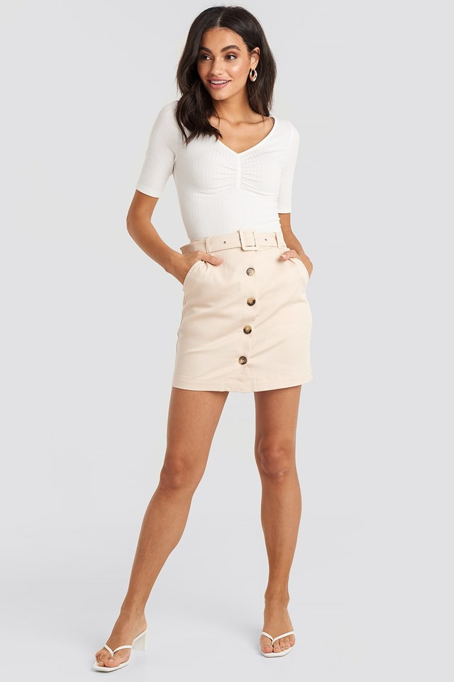 Belted Mini Skirt Beige Outfit
