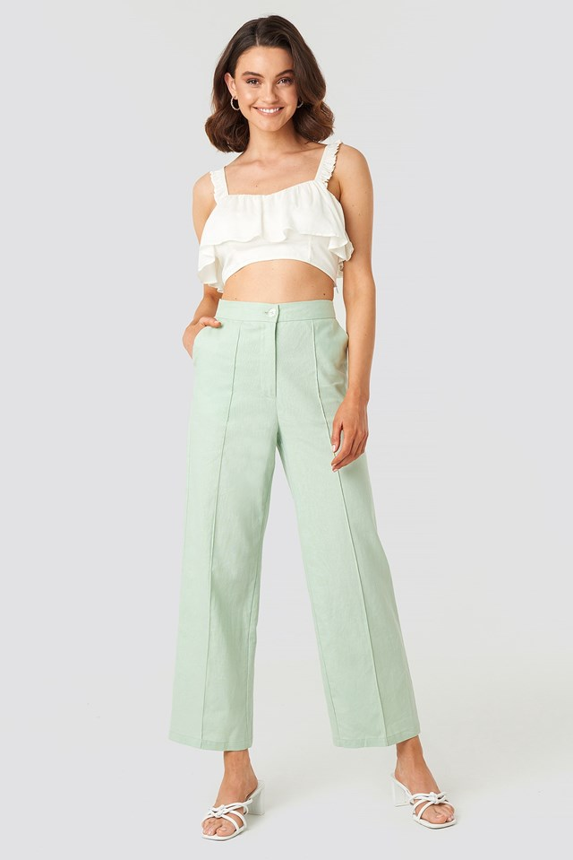 Linen Mix Regular Suit Pants Green Outfit