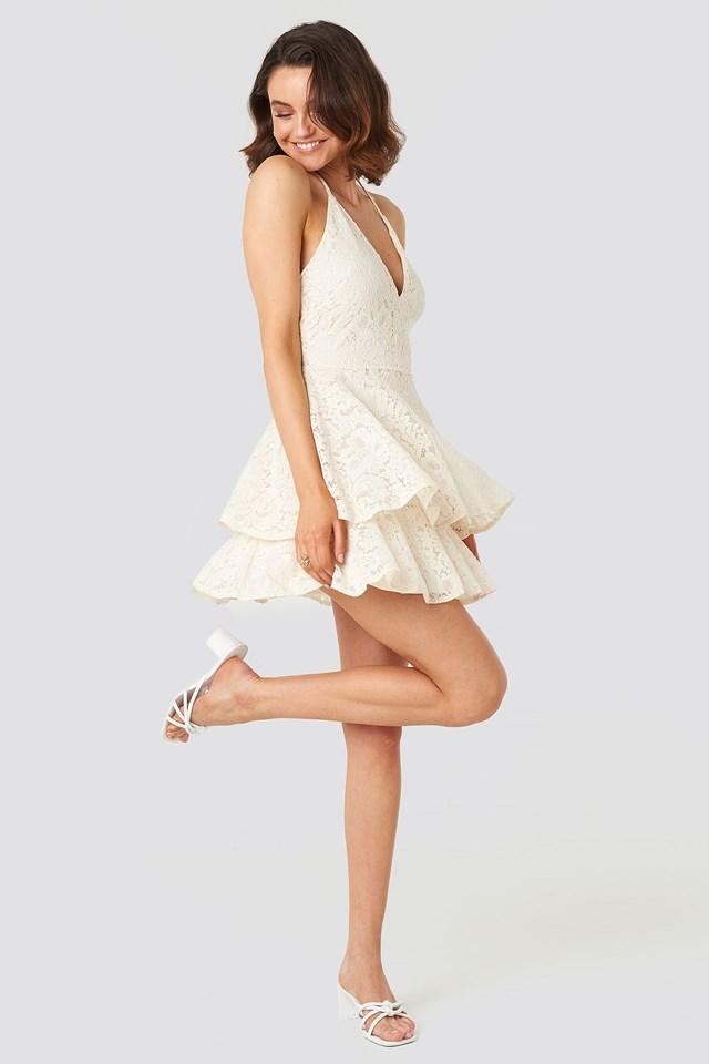 Halter Neck Lace Dress Beige Outfit