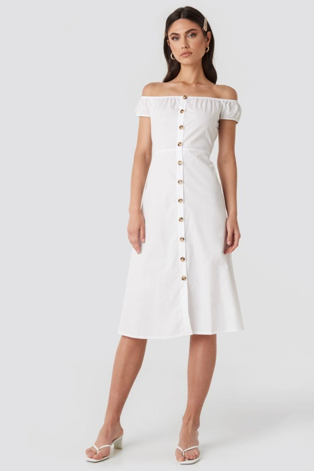 Off Shoulder Midi Dress White Outfit
