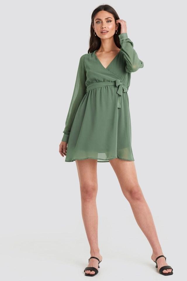 Chiffon Wrap Mini Dress Green Outfit