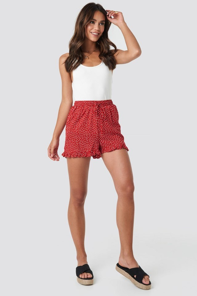 Dotted Frill Hem Shorts Red Outfit