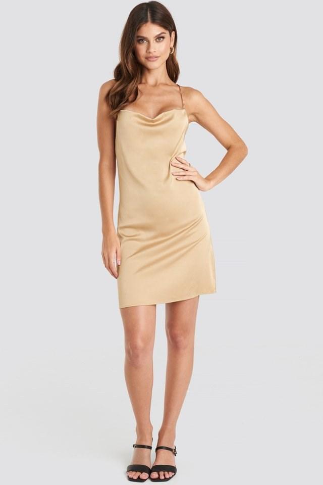 Satin Waterfall Mini Dress Beige Outfit