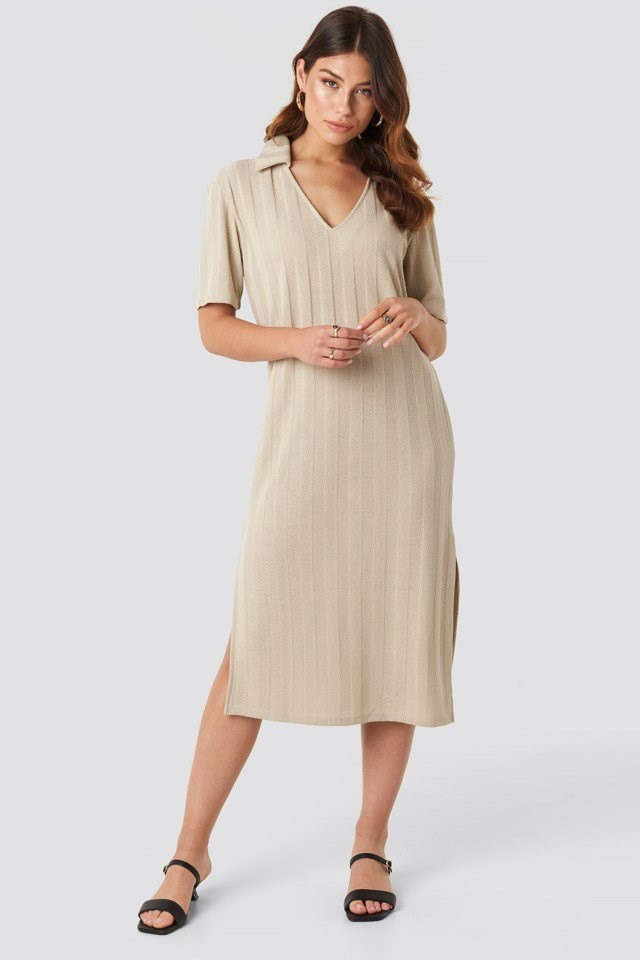 Collar V Front Knitted Dress Beige Outfit