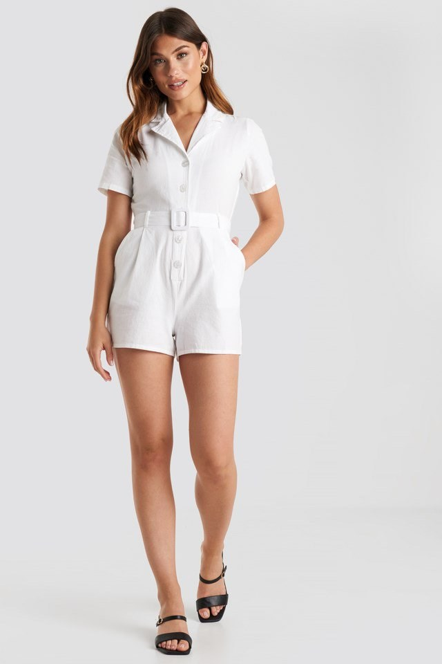 Belted Playsuit White Outfit