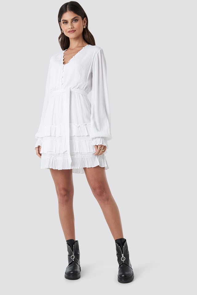 Front Button Frill Dress White