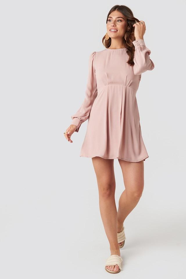 Open Back Flowy Mini Dress Pink