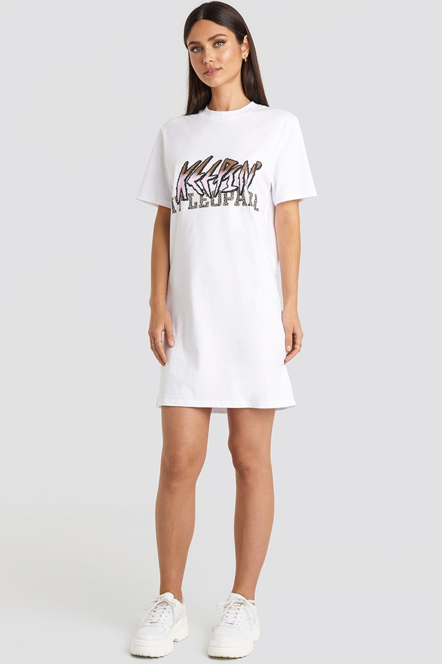 Keepin It T-shirt Dress White Outfit